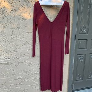 Top shop burgundy midi dress.